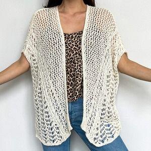 American Eagle Beige Crochet Cardigan Size XXS